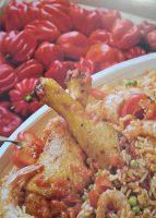 Jollof Rice con pollo e gamberi
